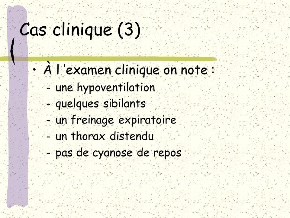 Cas clinique (3) À l examen clinique on note : – une hypoventilation – quelques sibilants – un freinage expiratoire – un thorax distendu – pas de cyan