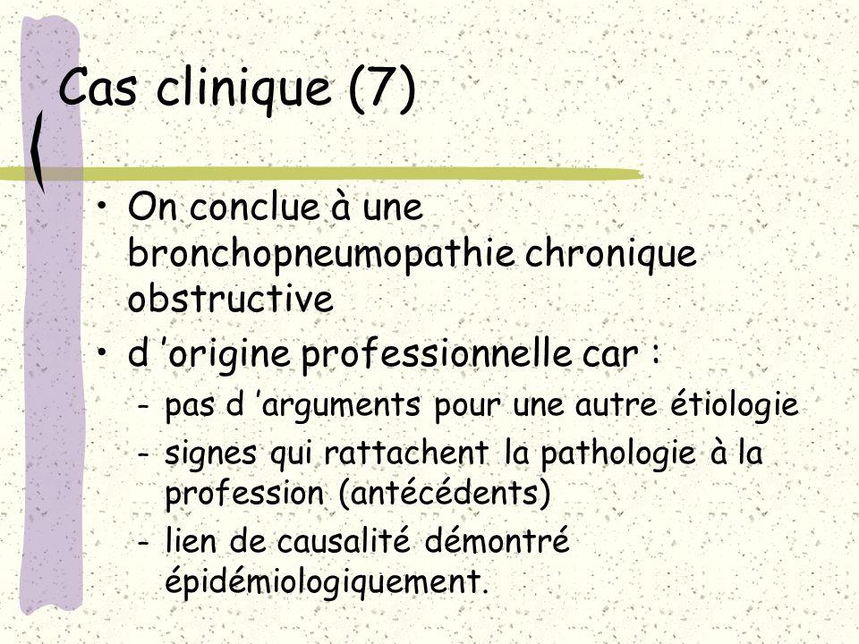 Cas clinique (7) On conclue à une bronchopneumopathie chronique obstructive d origine professionnelle car : – pas d arguments pour une autre étiologie