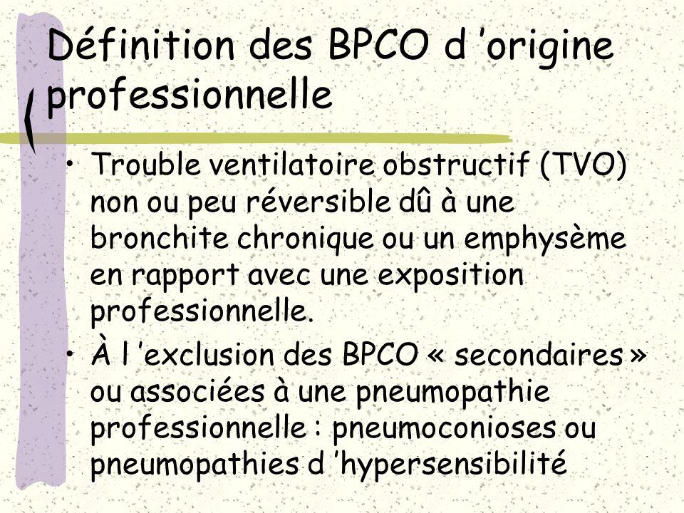 Définition des BPCO d origine professionnelle Trouble ventilatoire obstructif (TVO) non ou peu réversible dû à une bronchite chronique ou un emphysème