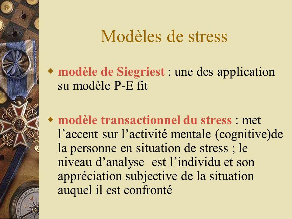 Modèles de stress modèle de Siegriest : une des application su modèle P-E fit modèle transactionnel du stress : met laccent sur lactivité mentale (cog