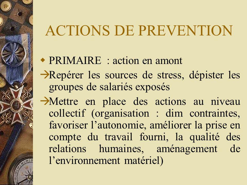 ACTIONS DE PREVENTION PRIMAIRE : action en amont Repérer les sources de stress, dépister les groupes de salariés exposés Mettre en place des actions a