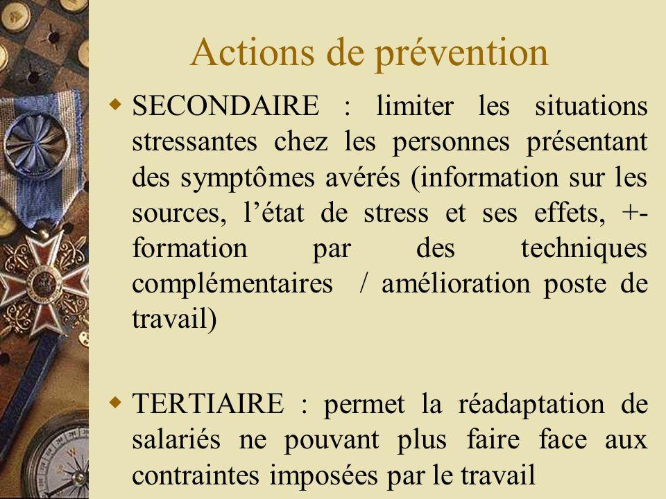 Actions de prévention SECONDAIRE : limiter les situations stressantes chez les personnes présentant des symptômes avérés (information sur les sources,