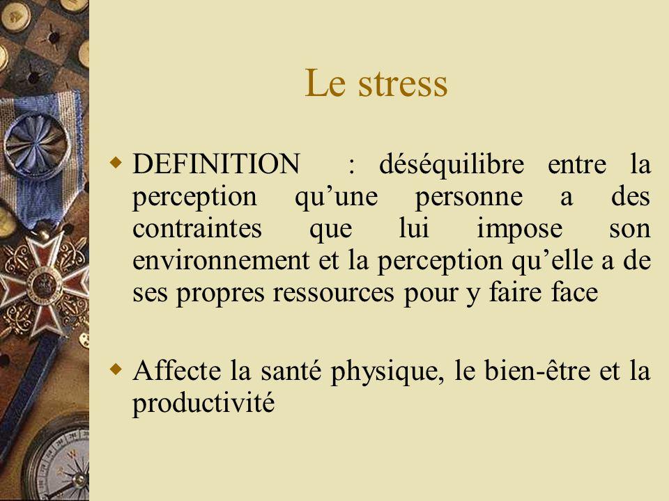 Le stress DEFINITION : déséquilibre entre la perception quune personne a des contraintes que lui impose son environnement et la perception quelle a de