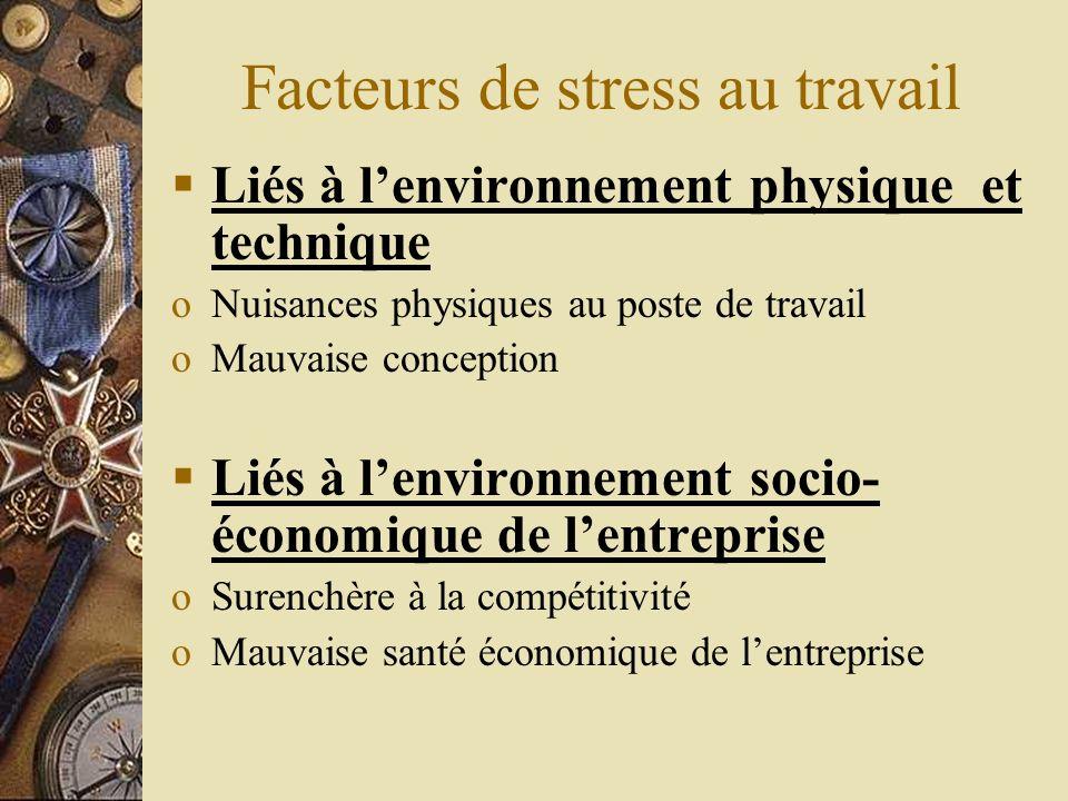 Facteurs de stress au travail Liés à lindividu Personnalités de type A (compétitivité, désir de réussite, agressivité, impatience) sont plus exposées Instabilité émotionnelle