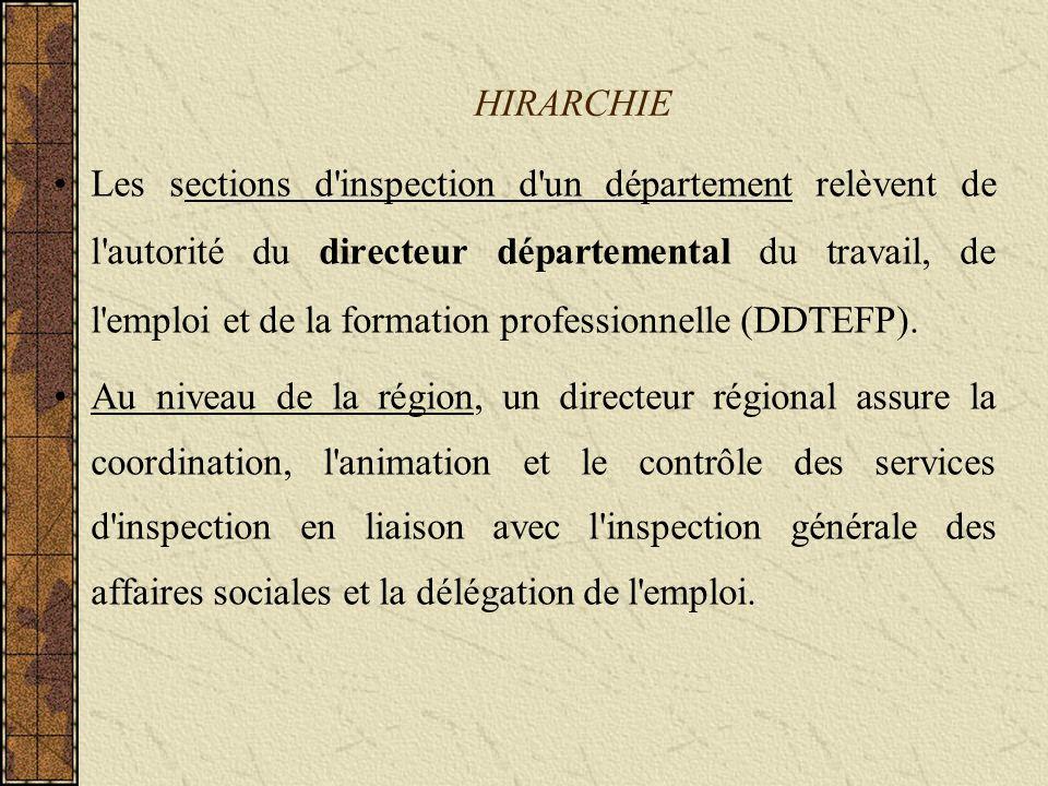 HIRARCHIE Les sections d inspection d un département relèvent de l autorité du directeur départemental du travail, de l emploi et de la formation professionnelle (DDTEFP).