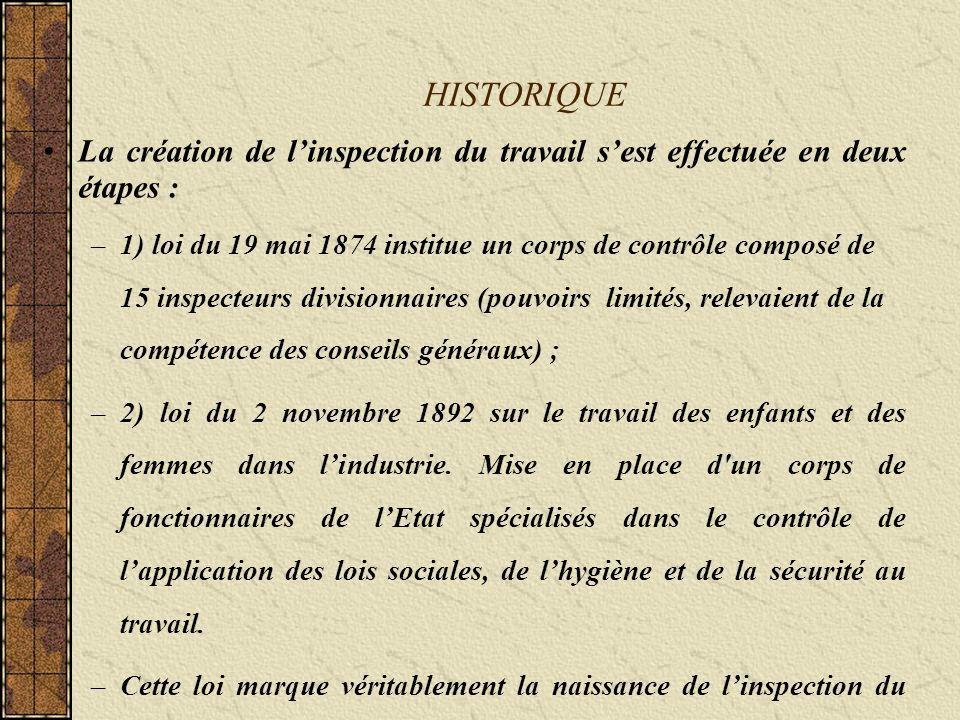 CONSTITUTION Un décret de 1975 réformant le statut de linspection du travail a créé un corps interministériel qui est géré par le ministère du travail.