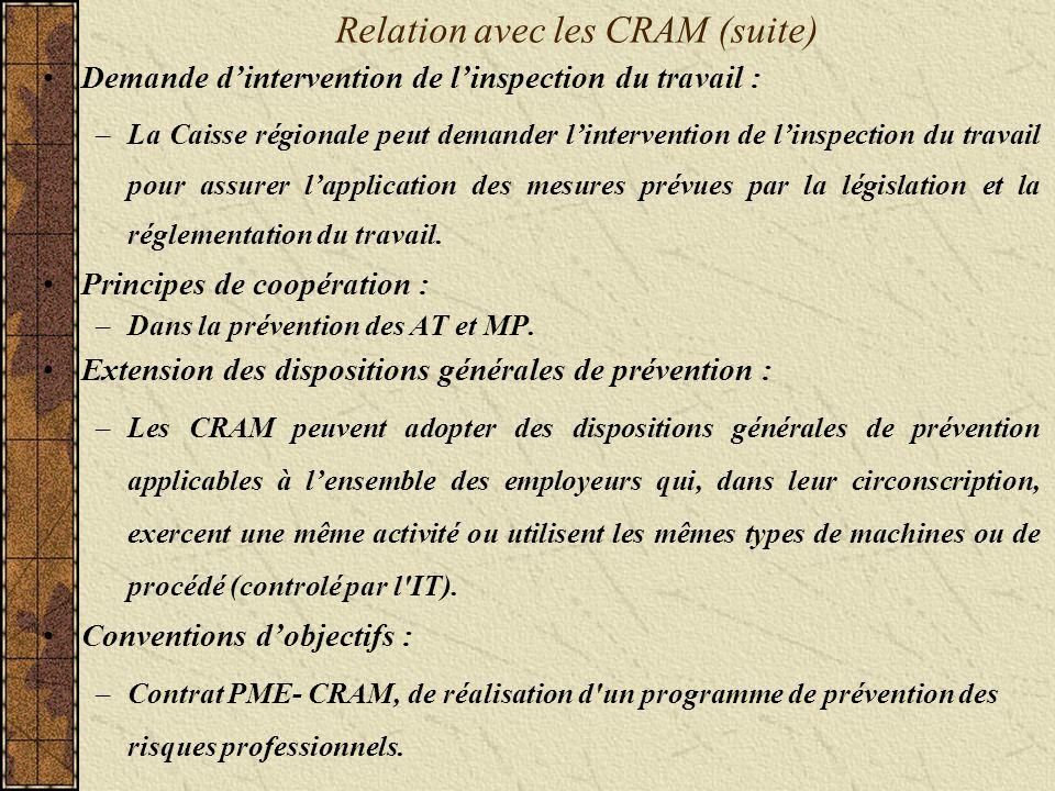 Relation avec les CRAM (suite) Demande dintervention de linspection du travail : –La Caisse régionale peut demander lintervention de linspection du travail pour assurer lapplication des mesures prévues par la législation et la réglementation du travail.