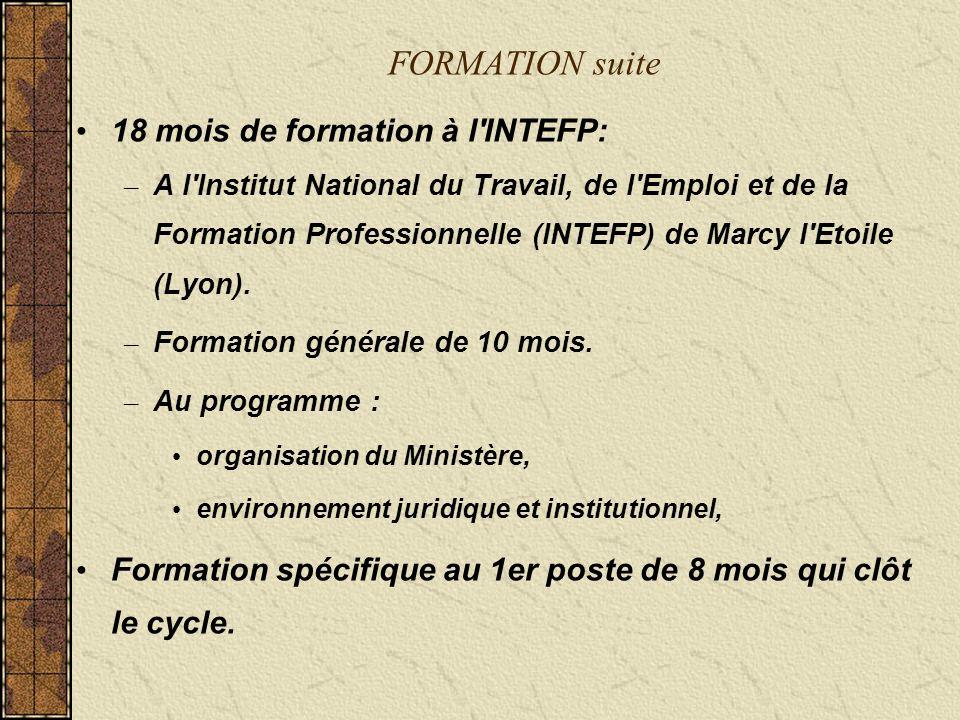 FORMATION suite 18 mois de formation à l INTEFP: – A l Institut National du Travail, de l Emploi et de la Formation Professionnelle (INTEFP) de Marcy l Etoile (Lyon).