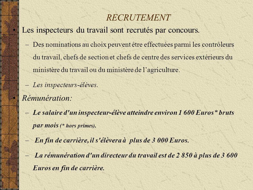 RECRUTEMENT Les inspecteurs du travail sont recrutés par concours.
