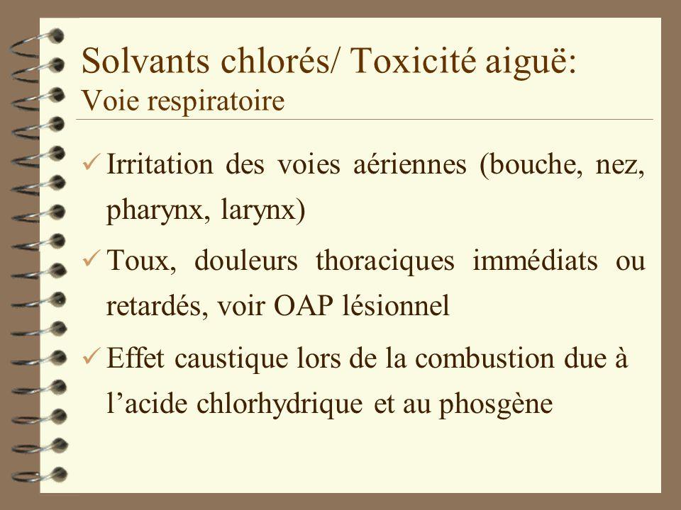 Solvants chlorés/ Toxicité aiguë: Voie respiratoire ü Irritation des voies aériennes (bouche, nez, pharynx, larynx) ü Toux, douleurs thoraciques immédiats ou retardés, voir OAP lésionnel ü Effet caustique lors de la combustion due à lacide chlorhydrique et au phosgène