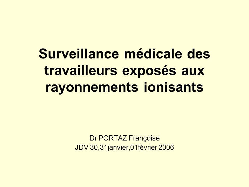 Surveillance médicale des travailleurs exposés aux rayonnements ionisants Dr PORTAZ Françoise JDV 30,31janvier,01février 2006