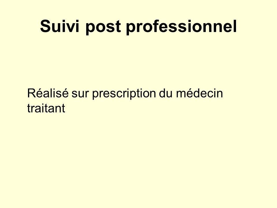Suivi post professionnel Réalisé sur prescription du médecin traitant