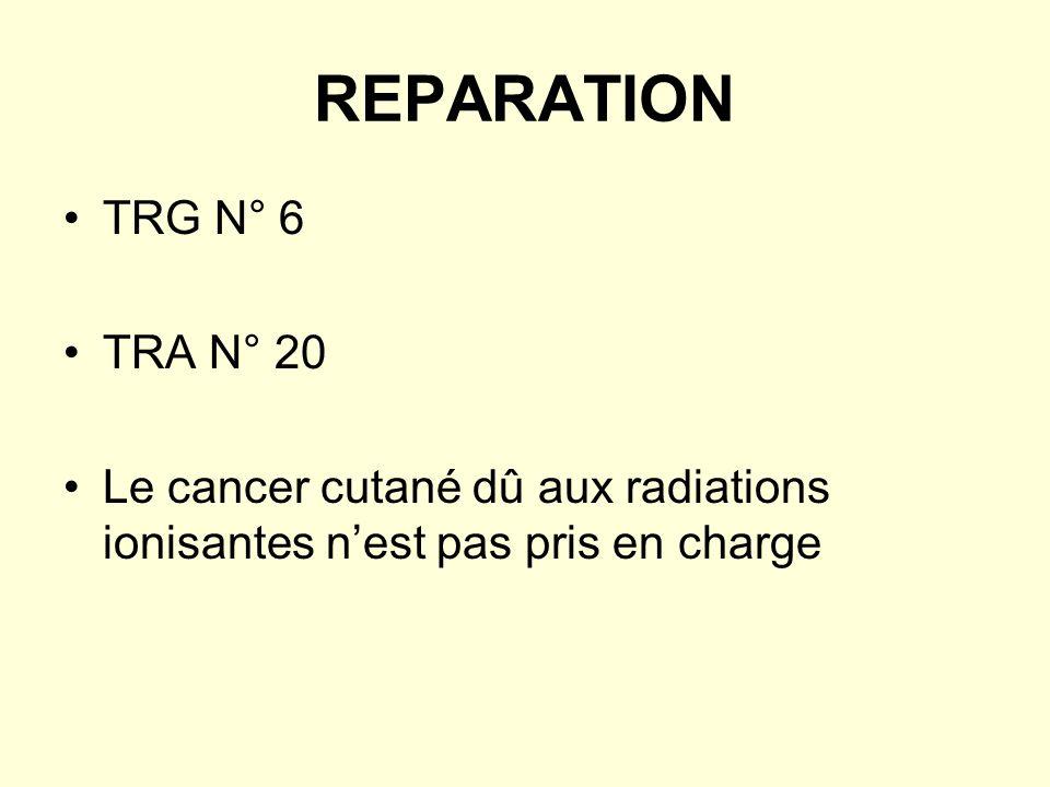 REPARATION TRG N° 6 TRA N° 20 Le cancer cutané dû aux radiations ionisantes nest pas pris en charge