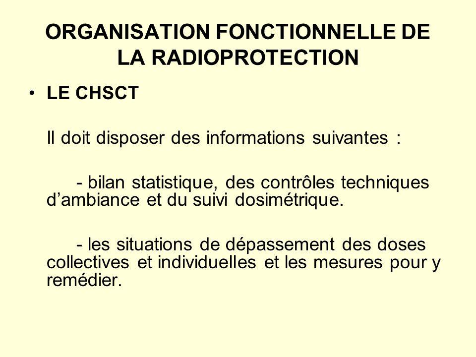 ORGANISATION FONCTIONNELLE DE LA RADIOPROTECTION LE CHSCT Il doit disposer des informations suivantes : - bilan statistique, des contrôles techniques dambiance et du suivi dosimétrique.