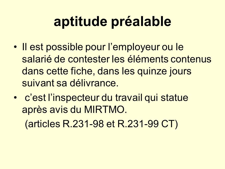 aptitude préalable Il est possible pour lemployeur ou le salarié de contester les éléments contenus dans cette fiche, dans les quinze jours suivant sa délivrance.