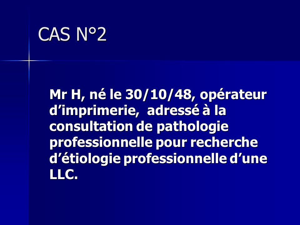 CAS N°2 Mr H, né le 30/10/48, opérateur dimprimerie, adressé à la consultation de pathologie professionnelle pour recherche détiologie professionnelle