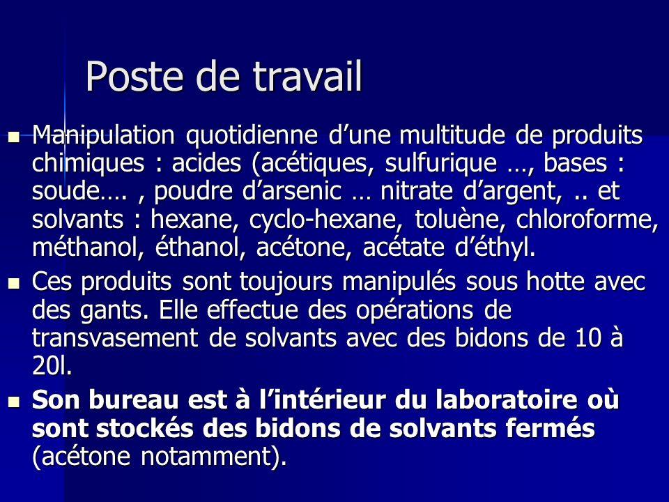 Poste de travail Poste de travail Manipulation quotidienne dune multitude de produits chimiques : acides (acétiques, sulfurique …, bases : soude…., po