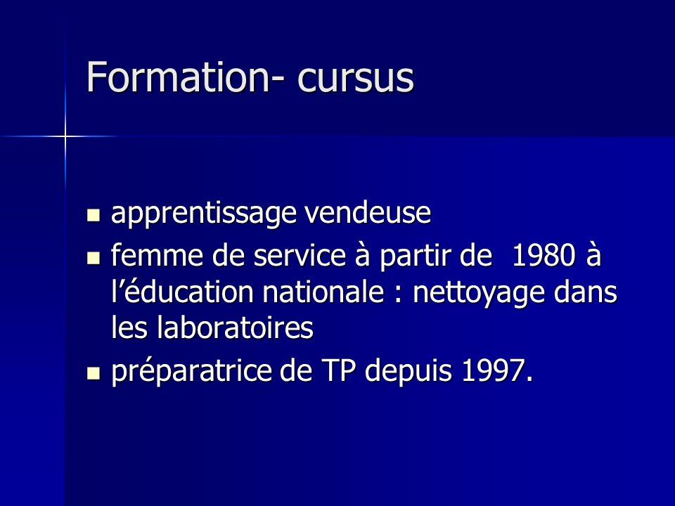 Formation- cursus Formation- cursus apprentissage vendeuse apprentissage vendeuse femme de service à partir de 1980 à léducation nationale : nettoyage