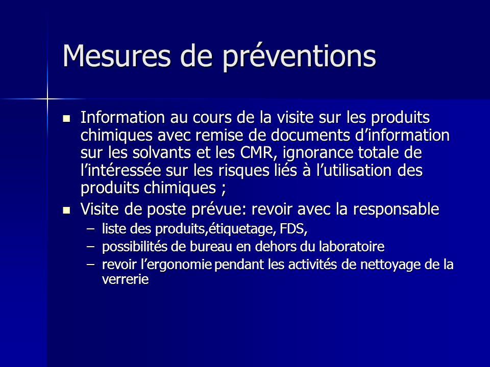 Mesures de préventions Information au cours de la visite sur les produits chimiques avec remise de documents dinformation sur les solvants et les CMR,