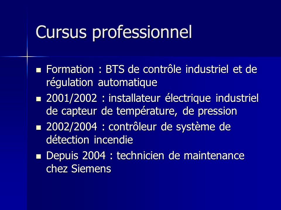 Cursus professionnel Cursus professionnel Formation : BTS de contrôle industriel et de régulation automatique Formation : BTS de contrôle industriel e