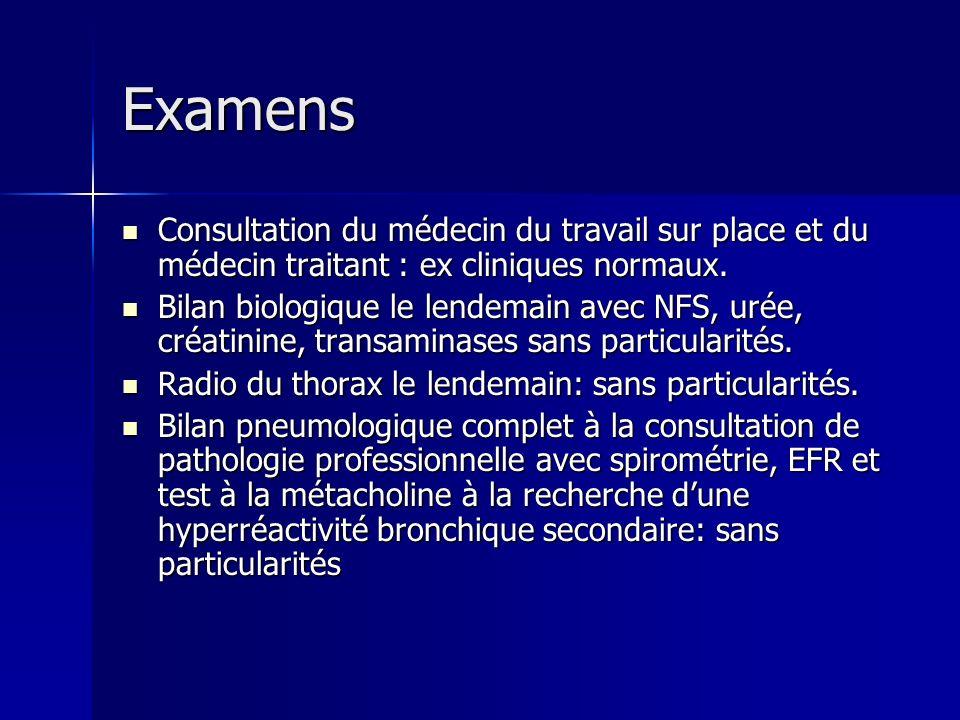 Examens Consultation du médecin du travail sur place et du médecin traitant : ex cliniques normaux. Consultation du médecin du travail sur place et du