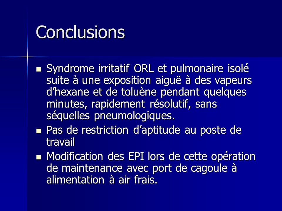 Conclusions Syndrome irritatif ORL et pulmonaire isolé suite à une exposition aiguë à des vapeurs dhexane et de toluène pendant quelques minutes, rapi
