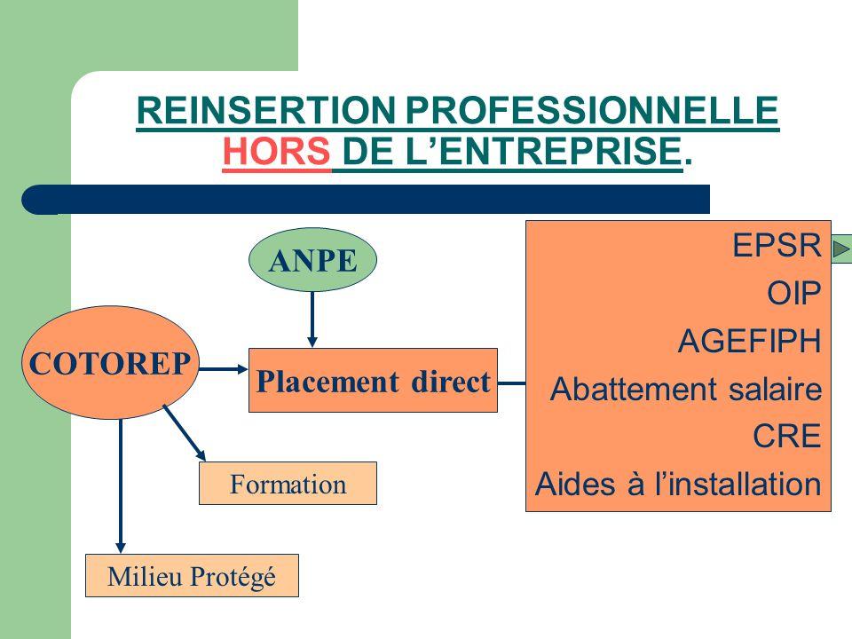 REINSERTION PROFESSIONNELLE HORS DE LENTREPRISE. EPSR OIP AGEFIPH Abattement salaire CRE Aides à linstallation COTOREP Placement direct ANPE Formation
