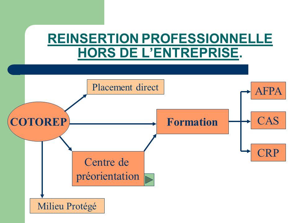 REINSERTION PROFESSIONNELLE HORS DE LENTREPRISE. COTOREP Placement direct Formation Milieu Protégé Centre de préorientation CAS AFPA CRP