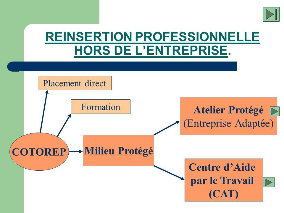 REINSERTION PROFESSIONNELLE HORS DE LENTREPRISE. COTOREP Formation Milieu Protégé Placement direct Atelier Protégé (Entreprise Adaptée) Centre dAide p