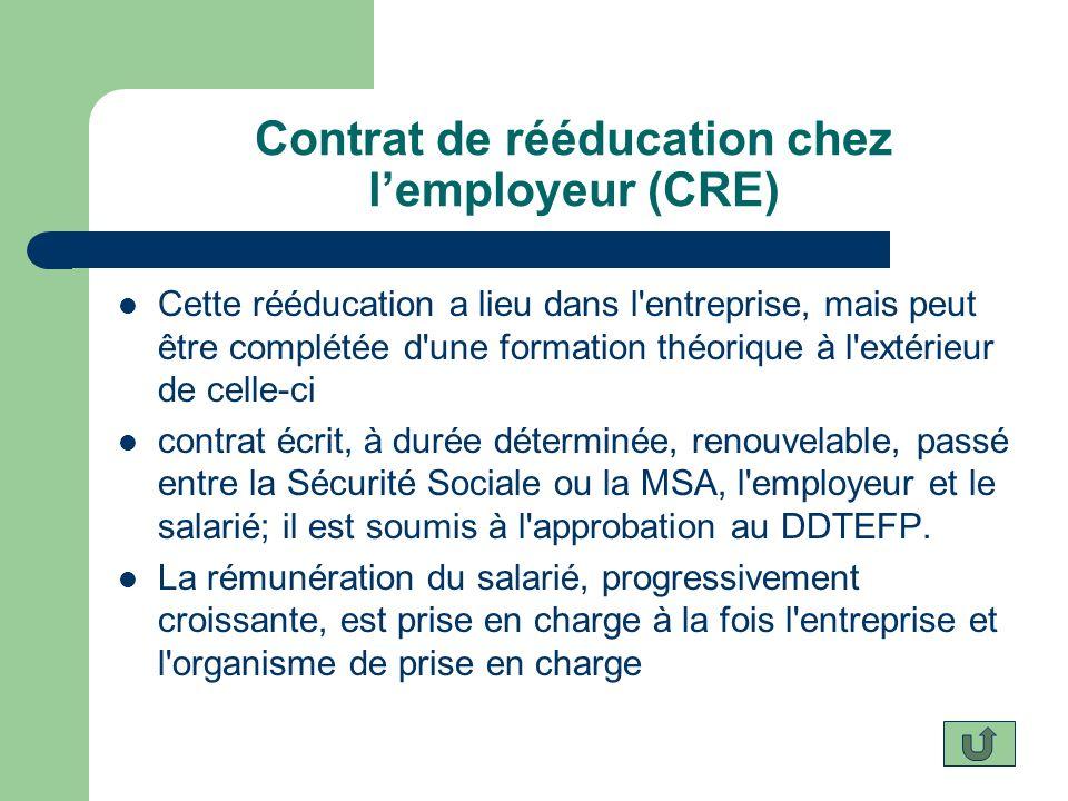 Contrat de rééducation chez lemployeur (CRE) Cette rééducation a lieu dans l'entreprise, mais peut être complétée d'une formation théorique à l'extéri