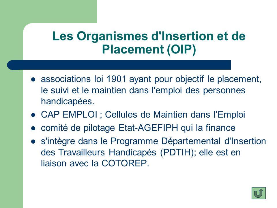 Les Organismes d'Insertion et de Placement (OIP) associations loi 1901 ayant pour objectif le placement, le suivi et le maintien dans l'emploi des per