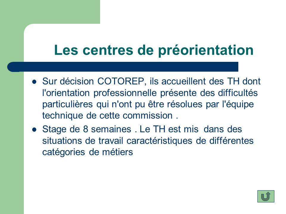 Les centres de préorientation Sur décision COTOREP, ils accueillent des TH dont l'orientation professionnelle présente des difficultés particulières q