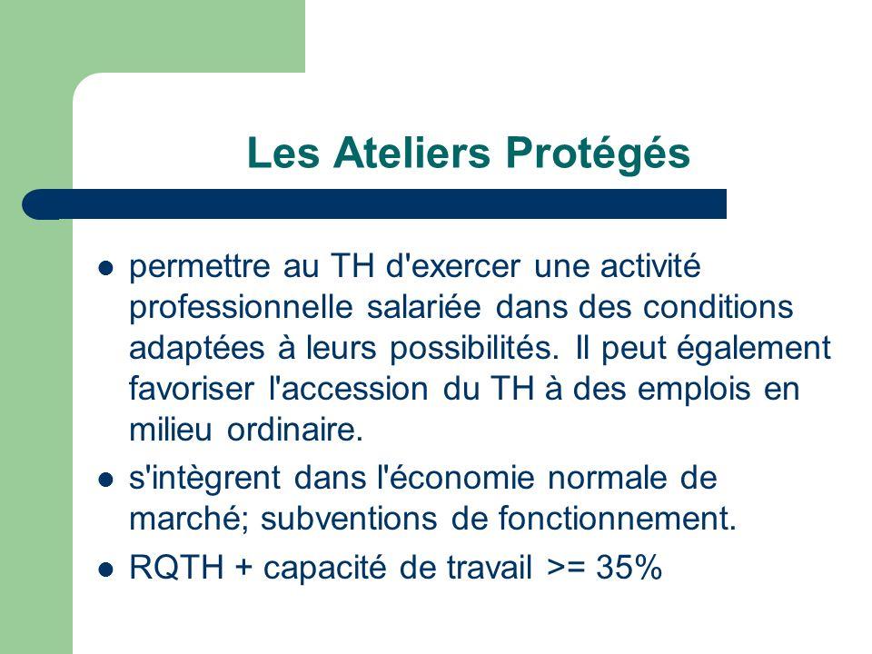 Les Ateliers Protégés permettre au TH d'exercer une activité professionnelle salariée dans des conditions adaptées à leurs possibilités. Il peut égale
