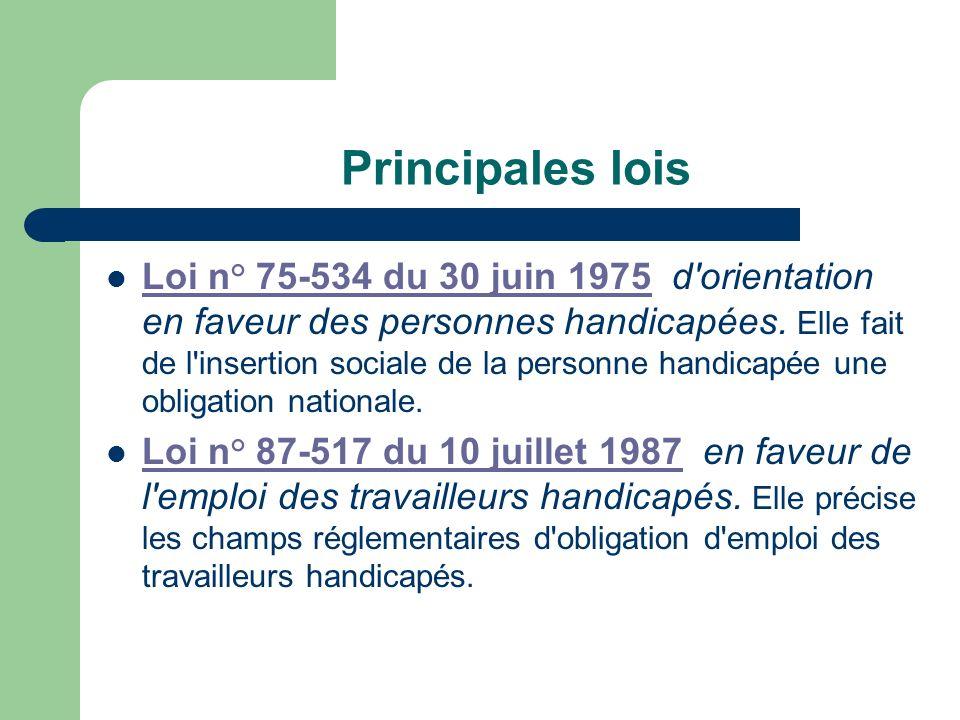 Principales lois Loi n° 75-534 du 30 juin 1975 d'orientation en faveur des personnes handicapées. Elle fait de l'insertion sociale de la personne hand