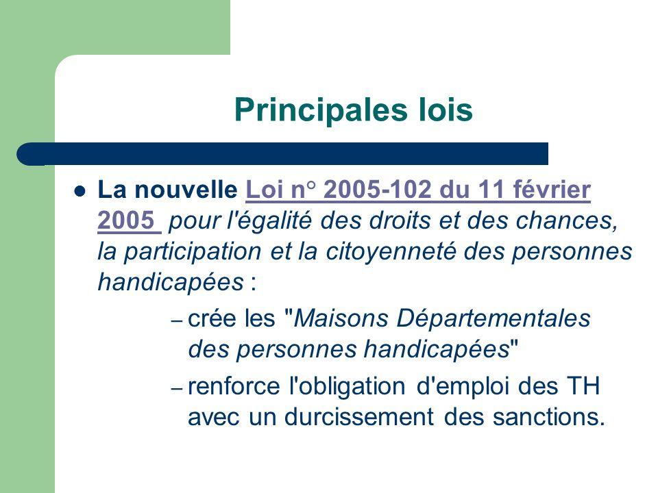 Principales lois La nouvelle Loi n° 2005-102 du 11 février 2005 pour l'égalité des droits et des chances, la participation et la citoyenneté des perso