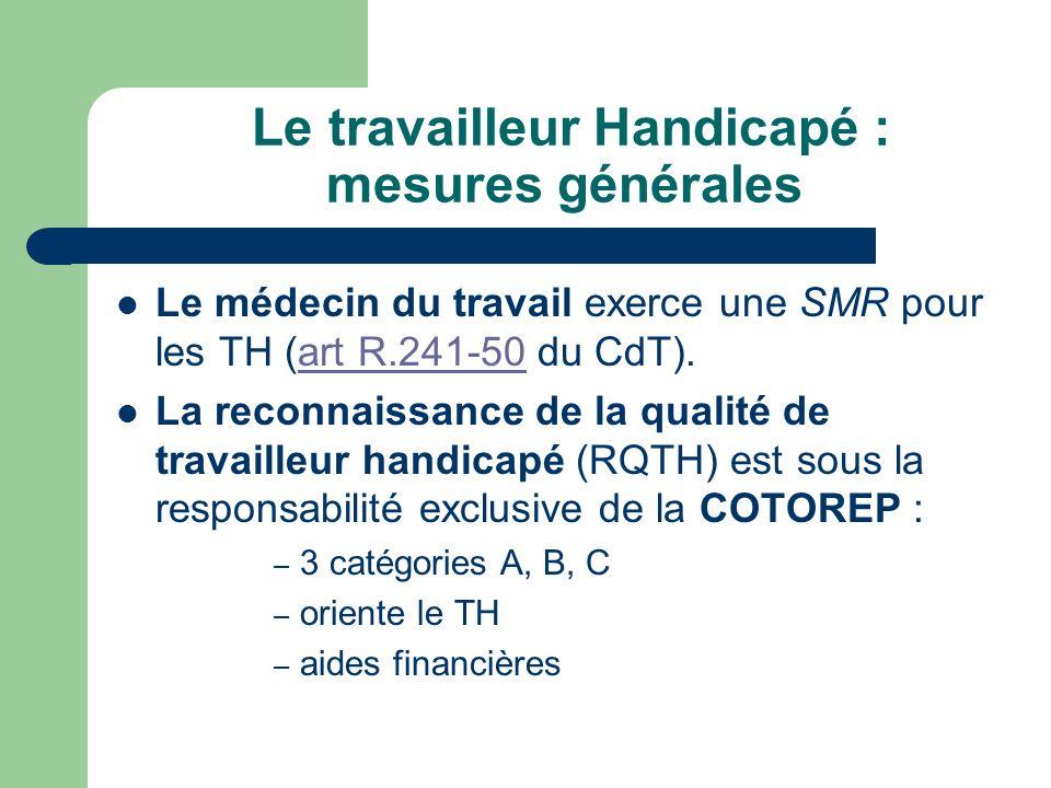 Le travailleur Handicapé : mesures générales Le médecin du travail exerce une SMR pour les TH (art R.241-50 du CdT).art R.241-50 La reconnaissance de