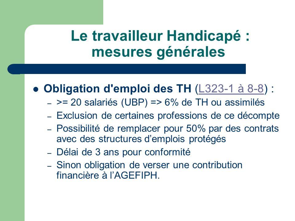 Le travailleur Handicapé : mesures générales Obligation d'emploi des TH (L323-1 à 8-8) :L323-1 à 8-8 – >= 20 salariés (UBP) => 6% de TH ou assimilés –