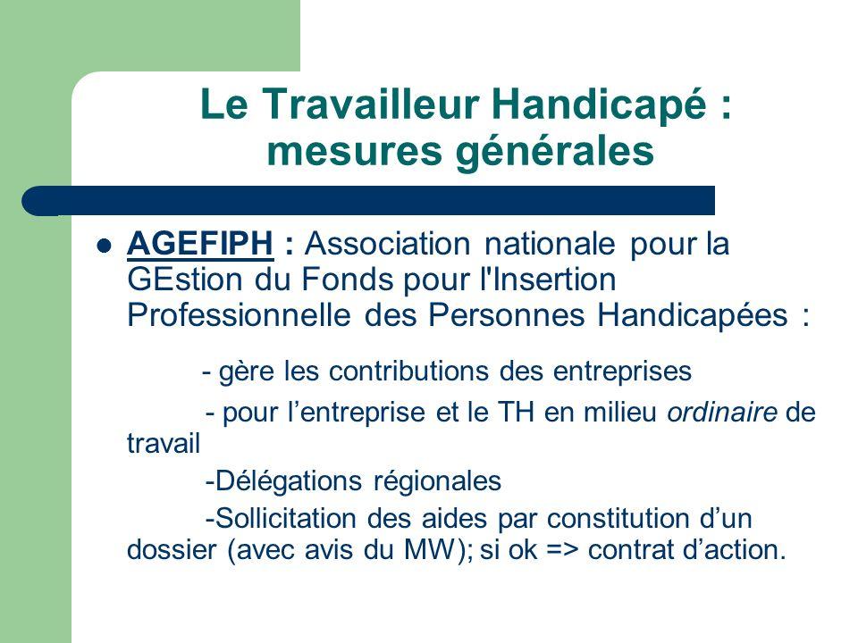 Le Travailleur Handicapé : mesures générales AGEFIPH : Association nationale pour la GEstion du Fonds pour l'Insertion Professionnelle des Personnes H