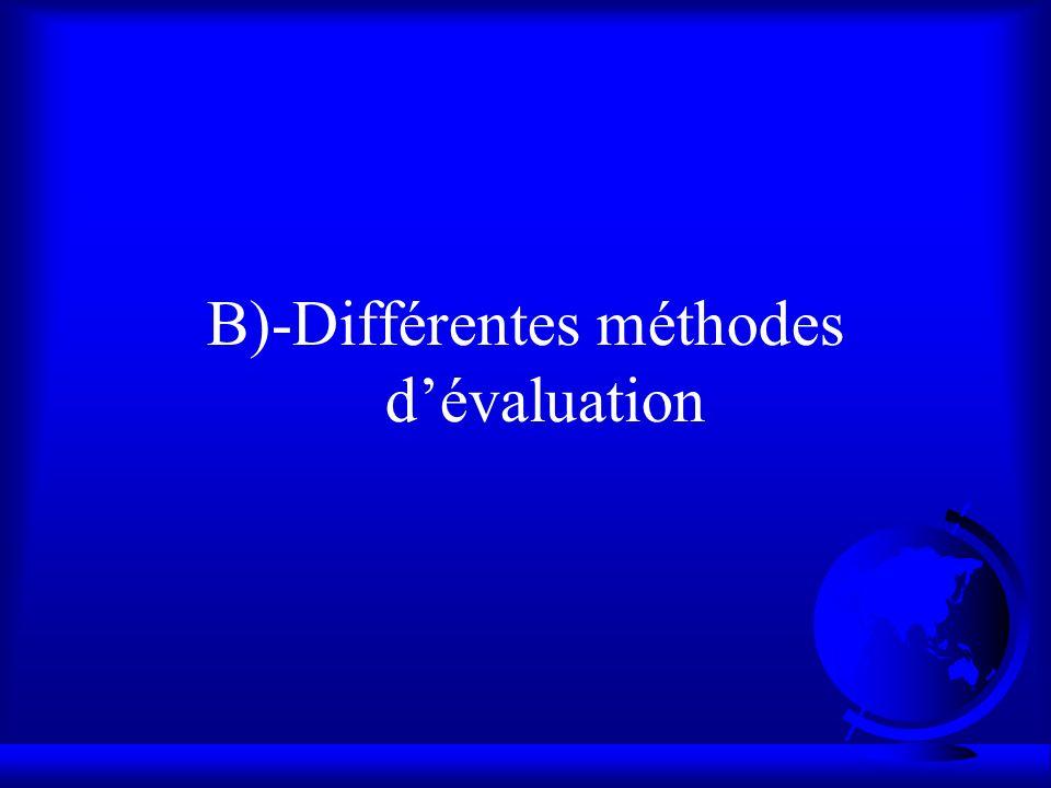 B)-Différentes méthodes dévaluation