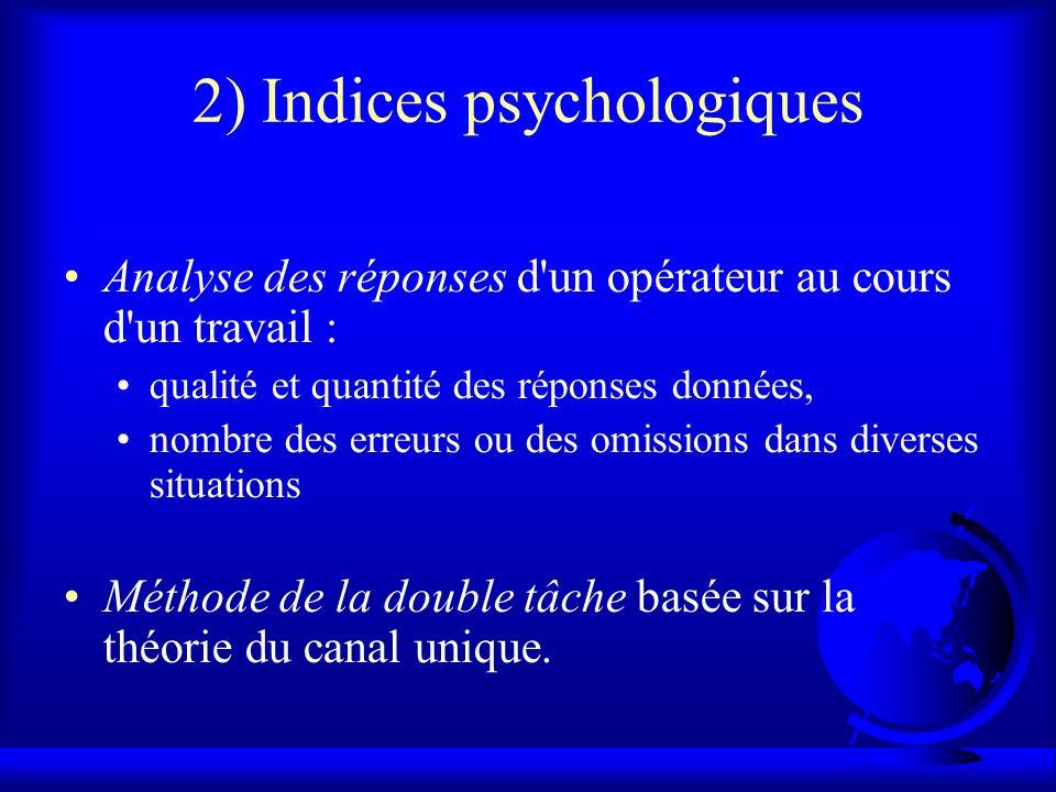 2) Indices psychologiques Analyse des réponses d'un opérateur au cours d'un travail : qualité et quantité des réponses données, nombre des erreurs ou