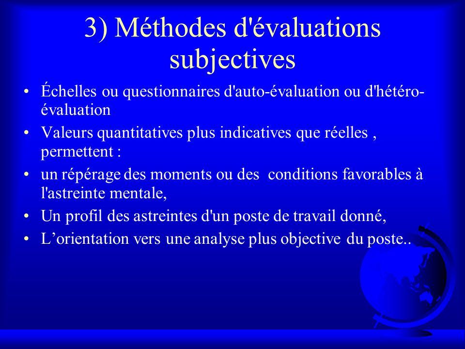 3) Méthodes d'évaluations subjectives Échelles ou questionnaires d'auto-évaluation ou d'hétéro- évaluation Valeurs quantitatives plus indicatives que