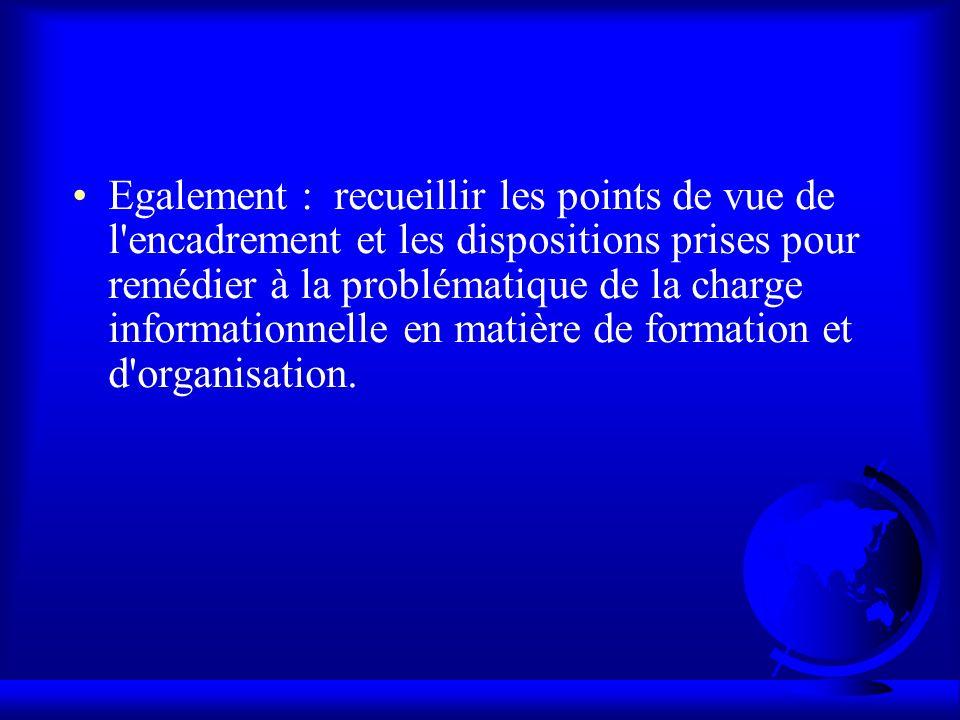 Egalement : recueillir les points de vue de l'encadrement et les dispositions prises pour remédier à la problématique de la charge informationnelle en