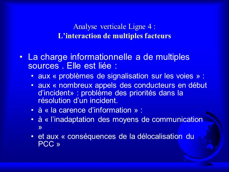 Analyse verticale Ligne 4 : Linteraction de multiples facteurs La charge informationnelle a de multiples sources.