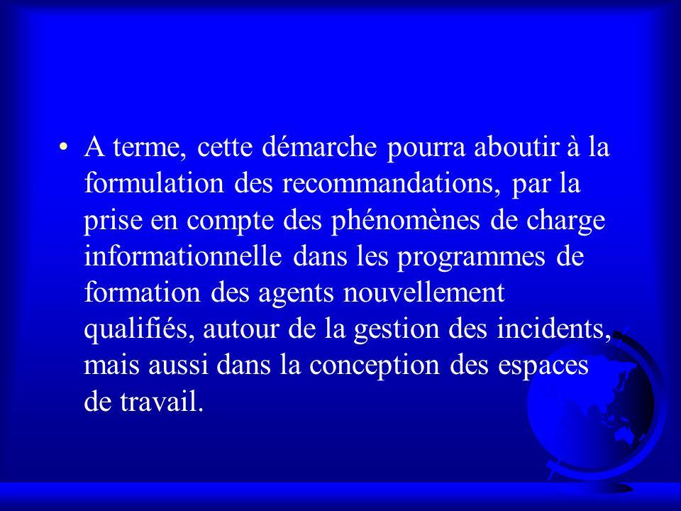 A terme, cette démarche pourra aboutir à la formulation des recommandations, par la prise en compte des phénomènes de charge informationnelle dans les