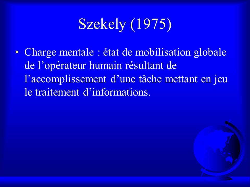 Szekely (1975) Charge mentale : état de mobilisation globale de lopérateur humain résultant de laccomplissement dune tâche mettant en jeu le traitemen
