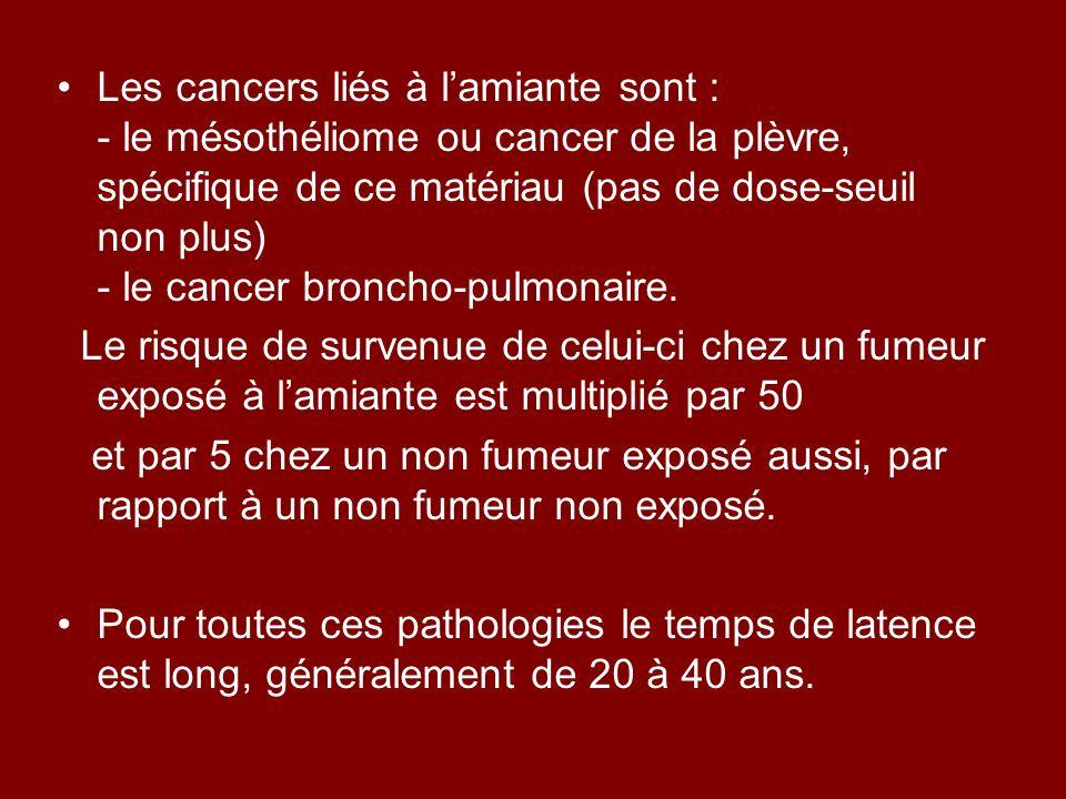 Les cancers liés à lamiante sont : - le mésothéliome ou cancer de la plèvre, spécifique de ce matériau (pas de dose-seuil non plus) - le cancer bronch