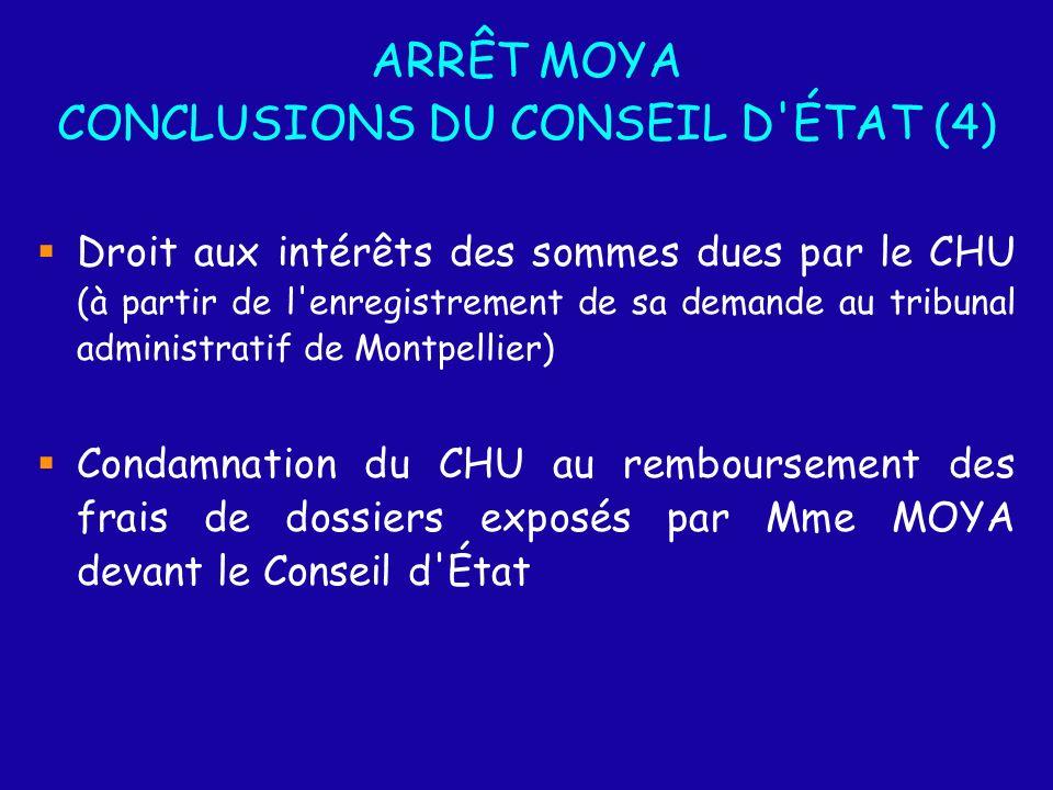 ARRÊT MOYA CONCLUSIONS DU CONSEIL D ÉTAT (4) Droit aux intérêts des sommes dues par le CHU (à partir de l enregistrement de sa demande au tribunal administratif de Montpellier) Condamnation du CHU au remboursement des frais de dossiers exposés par Mme MOYA devant le Conseil d État