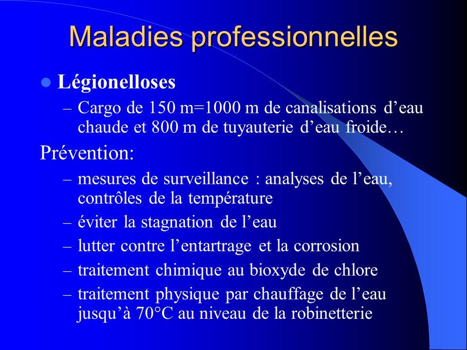Maladies professionnelles Légionelloses – Cargo de 150 m=1000 m de canalisations deau chaude et 800 m de tuyauterie deau froide… Prévention: – mesures