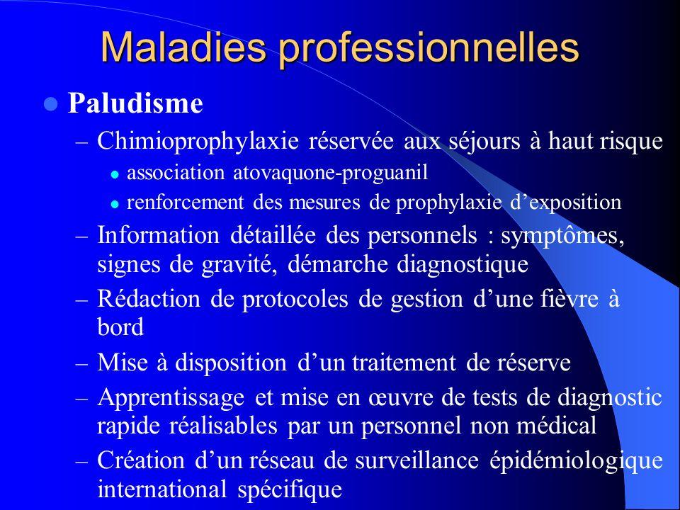 Maladies professionnelles Paludisme – Chimioprophylaxie réservée aux séjours à haut risque association atovaquone-proguanil renforcement des mesures d