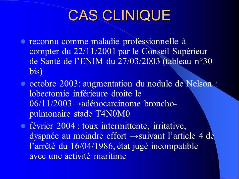 CAS CLINIQUE reconnu comme maladie professionnelle à compter du 22/11/2001 par le Conseil Supérieur de Santé de lENIM du 27/03/2003 (tableau n°30 bis)